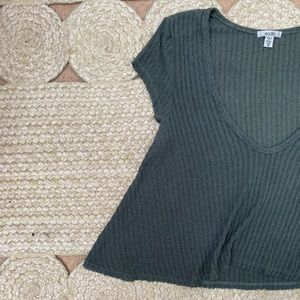 Urban Outfitters Green Knit Cropped V-Neck Tee